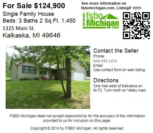 FSBO Michigan 3x5 Card