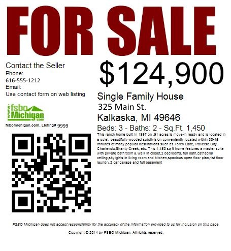 fsbomichigan.com Printable FSBO For Sale Signs and Flyers with QR Code